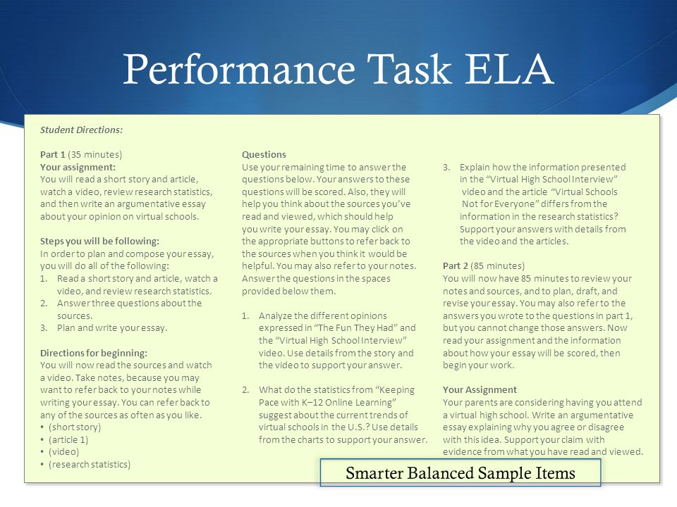 Performance Task ELA Student Directions: Part 1 (35 minutes) Your assignment: You will read a short story and article, watch a video, review research statistics, and then write an argumentative essay about your opinion on virtual schools.