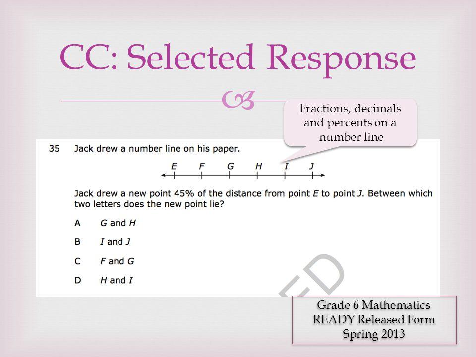  CC: Selected Response Grade 6 Mathematics READY Released Form Spring 2013 Grade 6 Mathematics READY Released Form Spring 2013 Fractions, decimals an