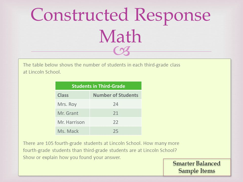  Constructed Response Math The table below shows the number of students in each third-grade class at Lincoln School. There are 105 fourth-grade stude