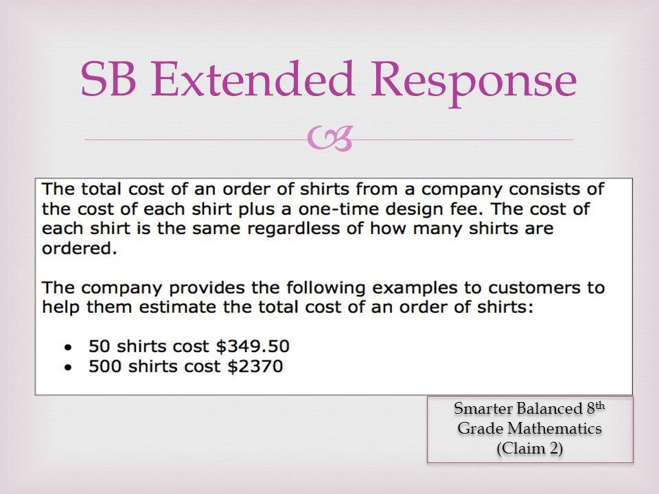  SB Extended Response Smarter Balanced 8 th Grade Mathematics (Claim 2) Smarter Balanced 8 th Grade Mathematics (Claim 2)
