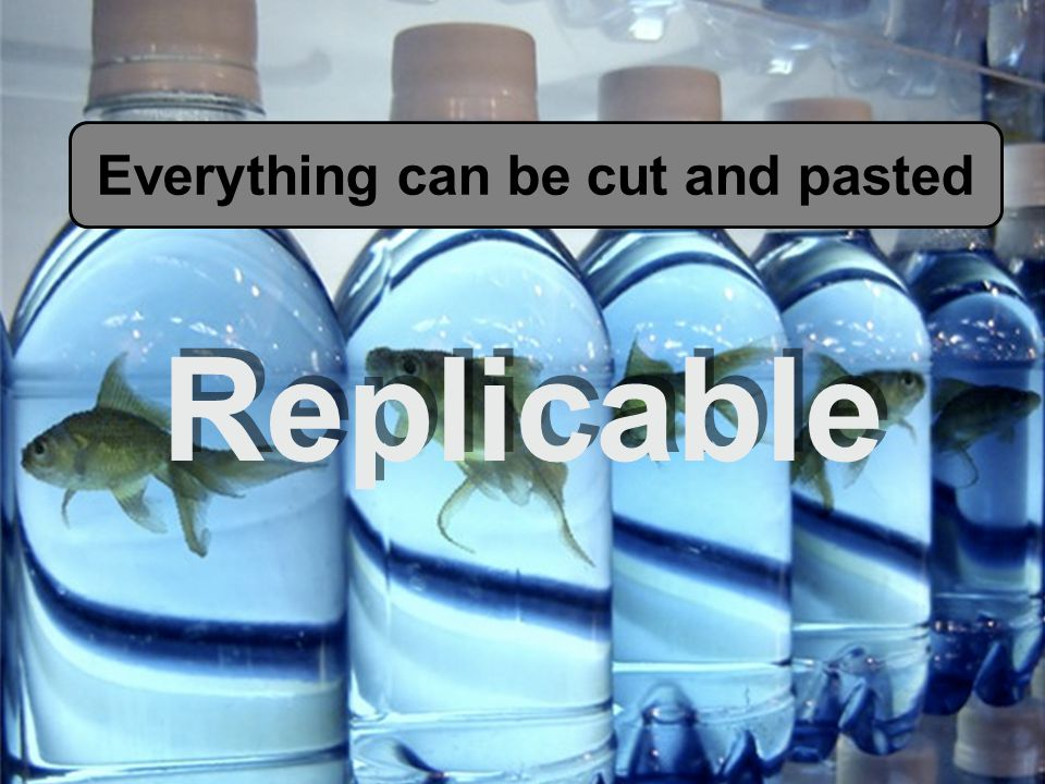 Replicable Everything can be cut and pasted