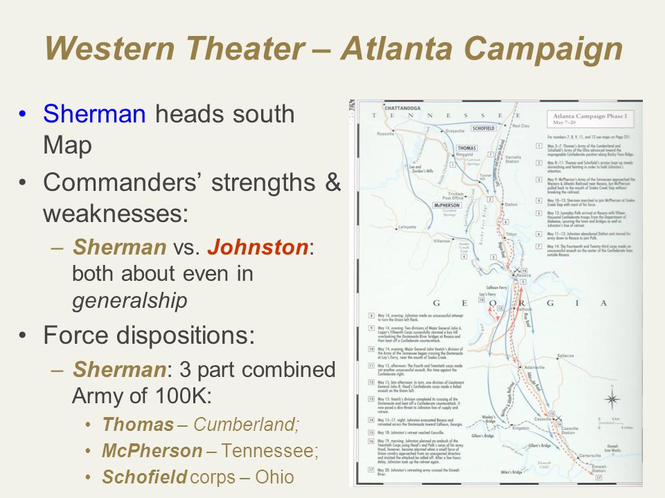29 Western Theater – Atlanta Campaign Sherman heads south Map Commanders' strengths & weaknesses: –Sherman vs.