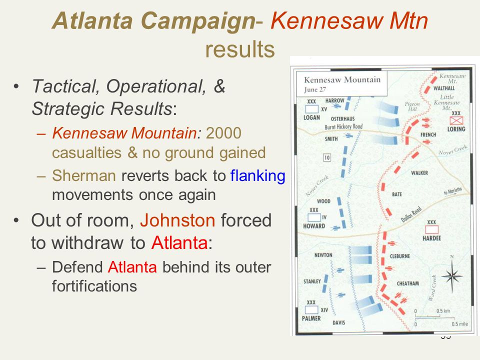 33 Atlanta Campaign- Kennesaw Mtn results Tactical, Operational, & Strategic Results: –Kennesaw Mountain: 2000 casualties & no ground gained –Sherman reverts back to flanking movements once again Out of room, Johnston forced to withdraw to Atlanta: –Defend Atlanta behind its outer fortifications