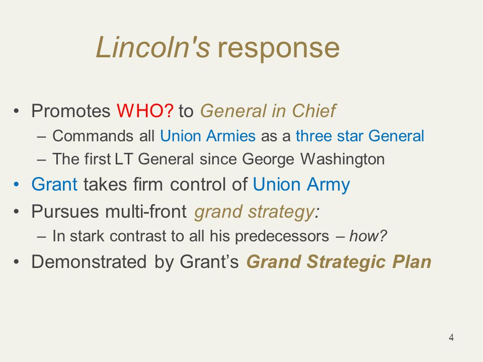 5 Grant's Grand Strategic Plan –Grant proposes multi-front grand strategy as planned out West –Simultaneous advance on all Southern fronts –Strategy of Exhaustion andAttrition Aim: Press South on all fronts & deny Logistics & LOCs –Operationally: Preclude South's use of its interior LOCs –How were LOCs used in past campaigns by South?