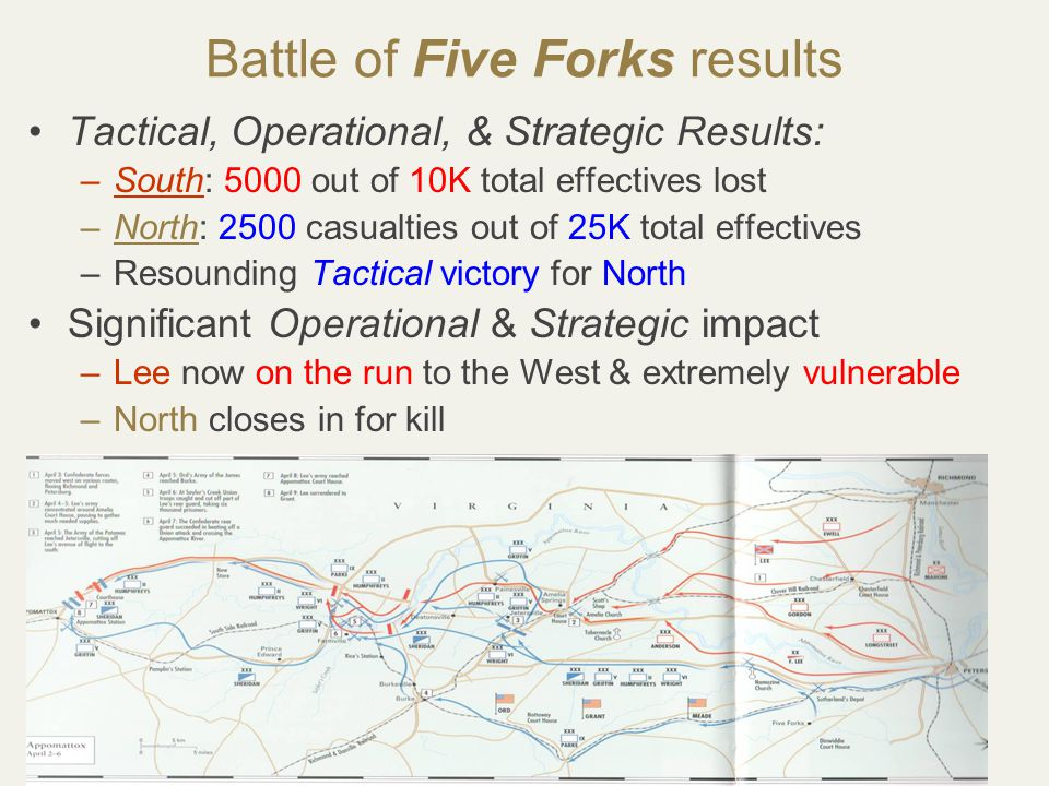 47 Battle of Five Forks results Tactical, Operational, & Strategic Results: –South: 5000 out of 10K total effectives lost –North: 2500 casualties out of 25K total effectives –Resounding Tactical victory for North Significant Operational & Strategic impact –Lee now on the run to the West & extremely vulnerable –North closes in for kill