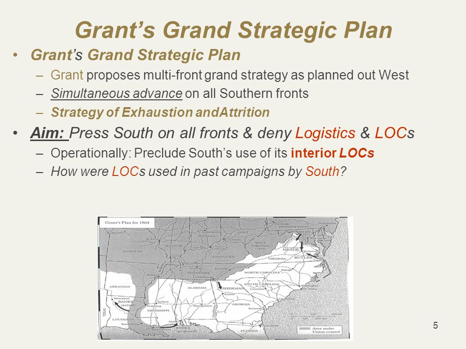 56 Grant's Leadership Grant's leadership style: Leads from front: –Maintains HQ w Meade's Army of Potomac why.