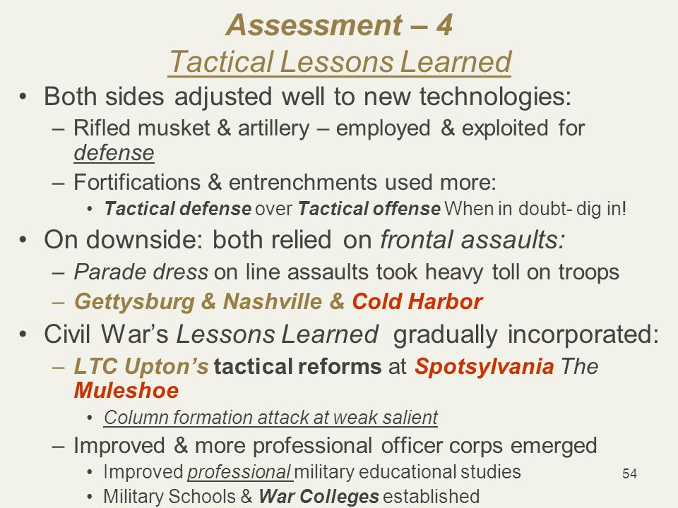 54 Assessment – 4 Tactical Lessons Learned Both sides adjusted well to new technologies: –Rifled musket & artillery – employed & exploited for defense –Fortifications & entrenchments used more: Tactical defense over Tactical offense When in doubt- dig in.
