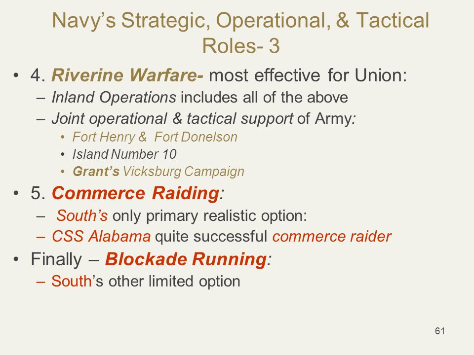61 Navy's Strategic, Operational, & Tactical Roles- 3 4.