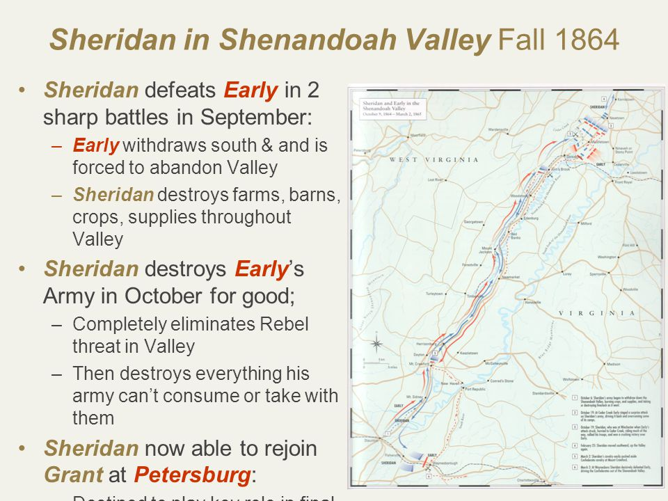 64 Sheridan in Shenandoah Valley Fall 1864 Sheridan defeats Early in 2 sharp battles in September: –Early withdraws south & and is forced to abandon Valley –Sheridan destroys farms, barns, crops, supplies throughout Valley Sheridan destroys Early's Army in October for good; –Completely eliminates Rebel threat in Valley –Then destroys everything his army can't consume or take with them Sheridan now able to rejoin Grant at Petersburg: –Destined to play key role in final defeat of Lee