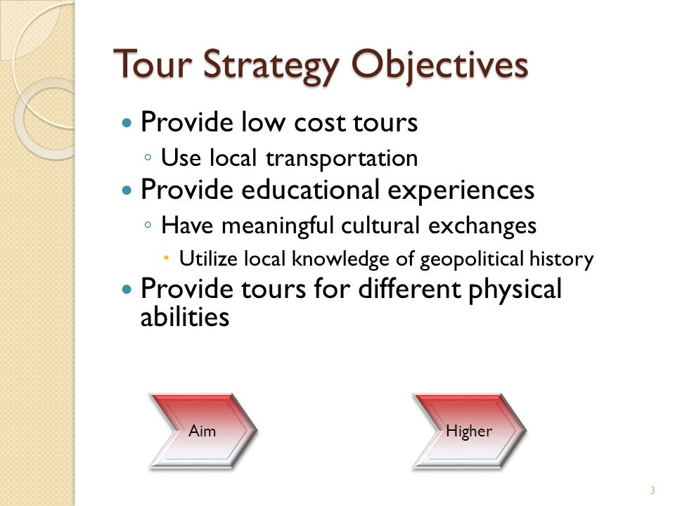Tour Strategy Objectives Provide low cost tours ◦ Use local transportation Provide educational experiences ◦ Have meaningful cultural exchanges  Util