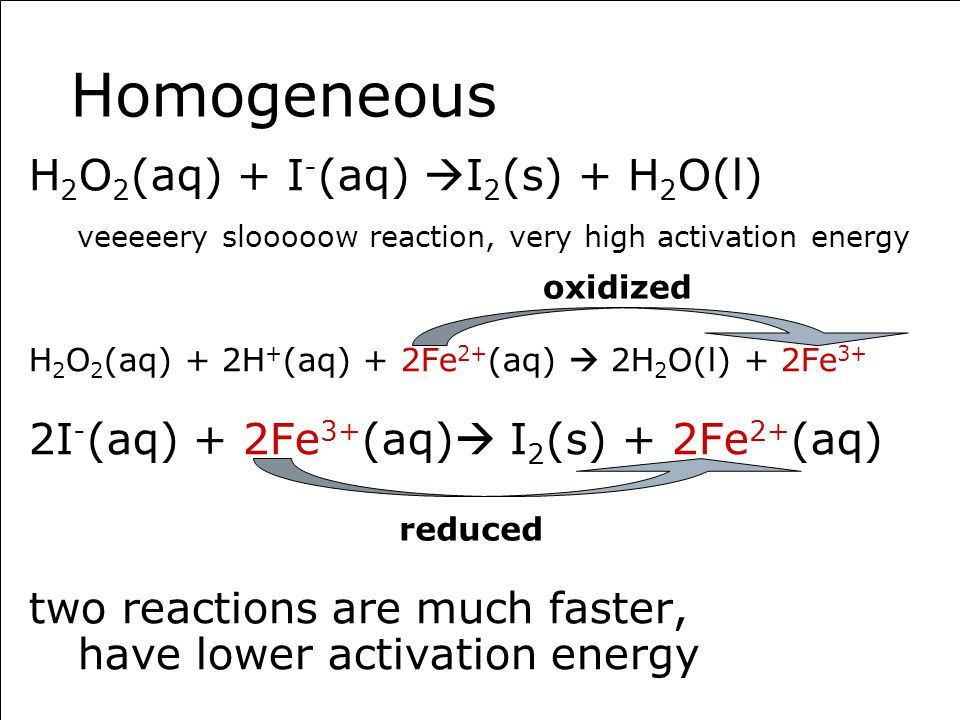 Homogeneous H 2 O 2 (aq) + I - (aq)  I 2 (s) + H 2 O(l) veeeeery slooooow reaction, very high activation energy H 2 O 2 (aq) + 2H + (aq) + 2Fe 2+ (aq)  2H 2 O(l) + 2Fe 3+ 2I - (aq) + 2Fe 3+ (aq)  I 2 (s) + 2Fe 2+ (aq) two reactions are much faster, have lower activation energy oxidized reduced