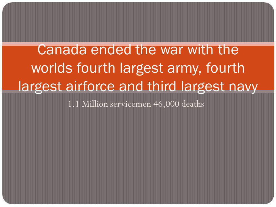 1.1 Million servicemen 46,000 deaths Canada ended the war with the worlds fourth largest army, fourth largest airforce and third largest navy