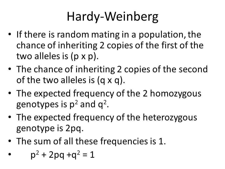 Hardy-Weinberg If there is random mating in a population, the chance of inheriting 2 copies of the first of the two alleles is (p x p). The chance of