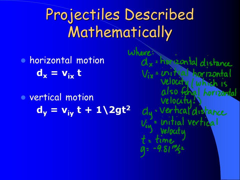 Projectiles Described Mathematically horizontal motion d x = v ix t vertical motion d y = v iy t + 1\2gt 2
