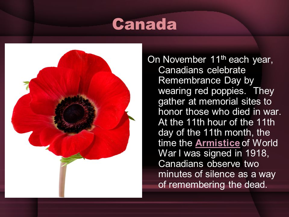 Canada On November 11 th each year, Canadians celebrate Remembrance Day by wearing red poppies. They gather at memorial sites to honor those who died