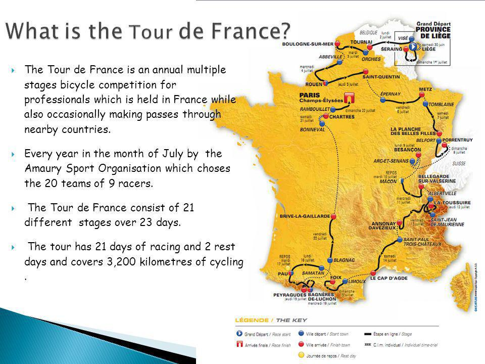  The Tour de France is an annual multiple stages bicycle competition for professionals which is held in France while also occasionally making passes through nearby countries.