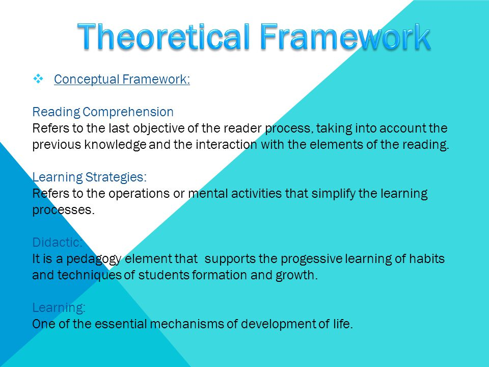  Conceptual Framework: Reading Comprehension Refers to the last objective of the reader process, taking into account the previous knowledge and the i