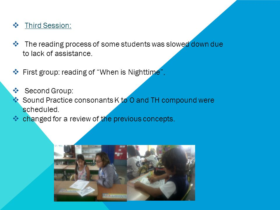 " Third Session:  The reading process of some students was slowed down due to lack of assistance.  First group: reading of ""When is Nighttime"",  Se"
