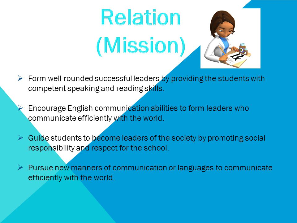  Form well-rounded successful leaders by providing the students with competent speaking and reading skills.  Encourage English communication abiliti