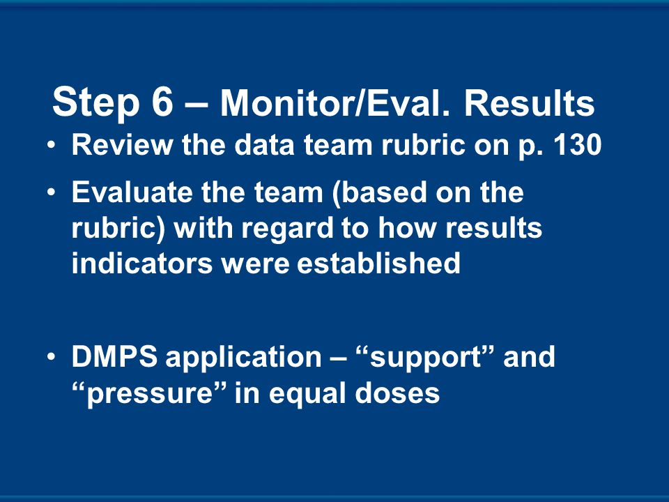 Step 6 – Monitor/Eval. Results Review the data team rubric on p.