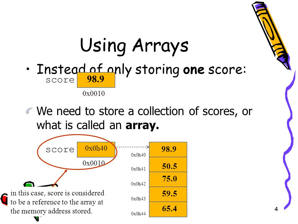 4 Using Arrays Instead of only storing one score: score 0x0010 We need to store a collection of scores, or what is called an array.