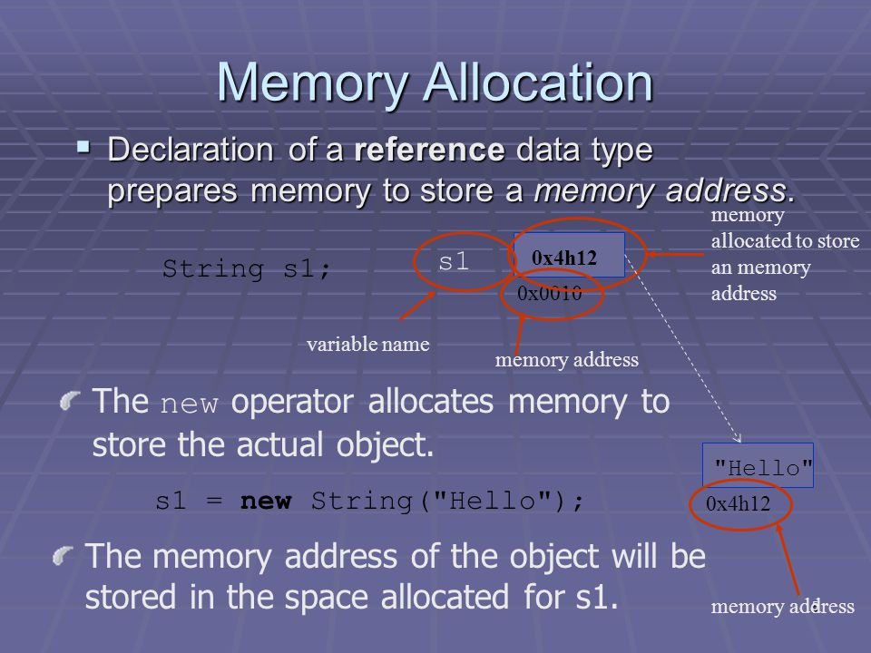5 Memory Allocation  Declaration of a reference data type prepares memory to store a memory address.