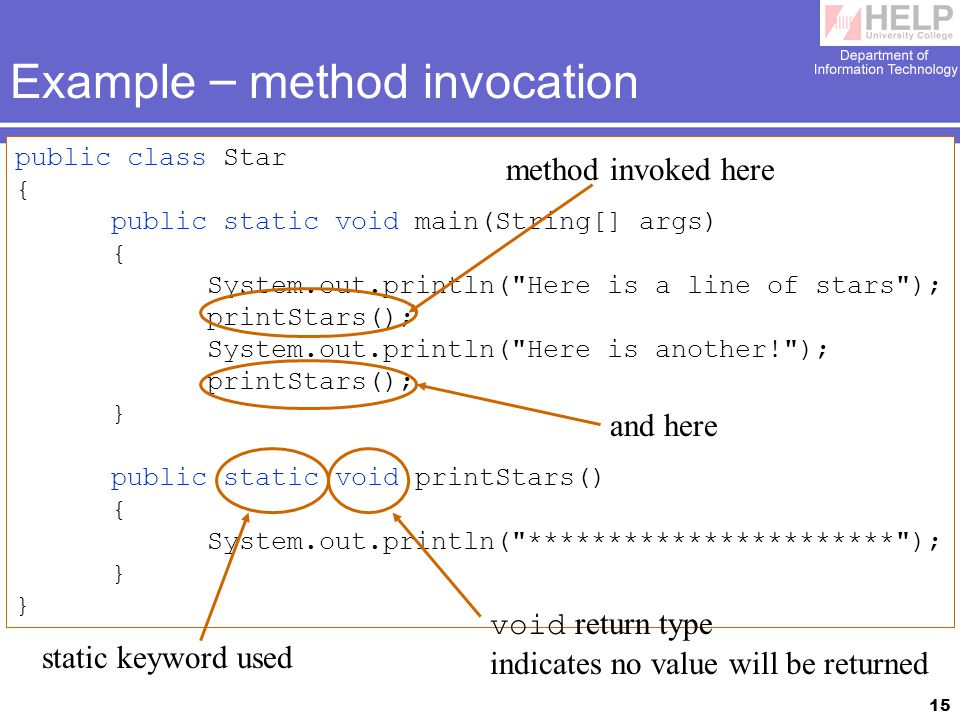 15 Example – method invocation public class Star { public static void main(String[] args) { System.out.println( Here is a line of stars ); printStars(); System.out.println( Here is another! ); printStars(); } public static void printStars() { System.out.println( *********************** ); } static keyword used void return type indicates no value will be returned method invoked here and here