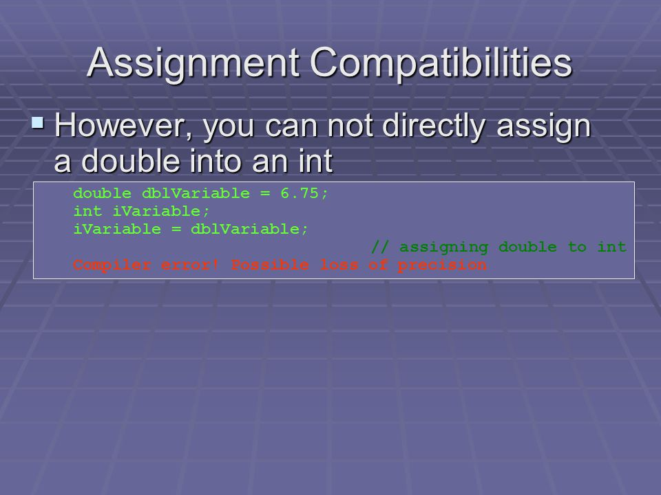 Assignment Compatibilities  In an assignment statement, you can assign a value of one type into another type: int iVariable = 6; double dblVariable;