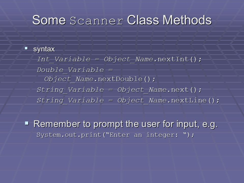 Keyboard Input Demonstration  class ScannerDemo