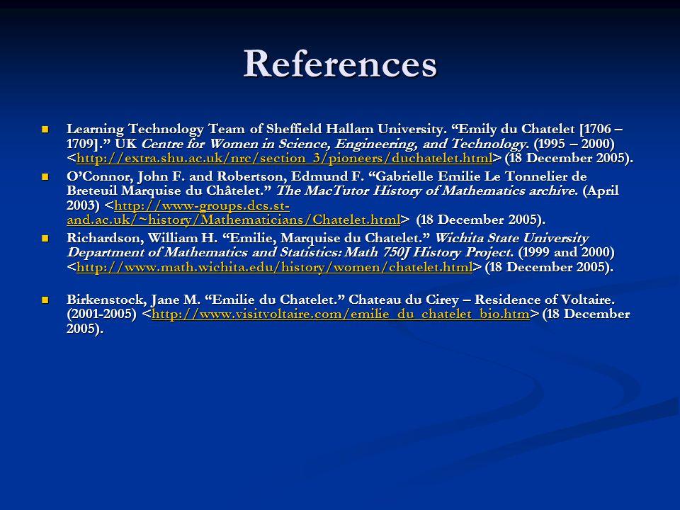 References Learning Technology Team of Sheffield Hallam University.