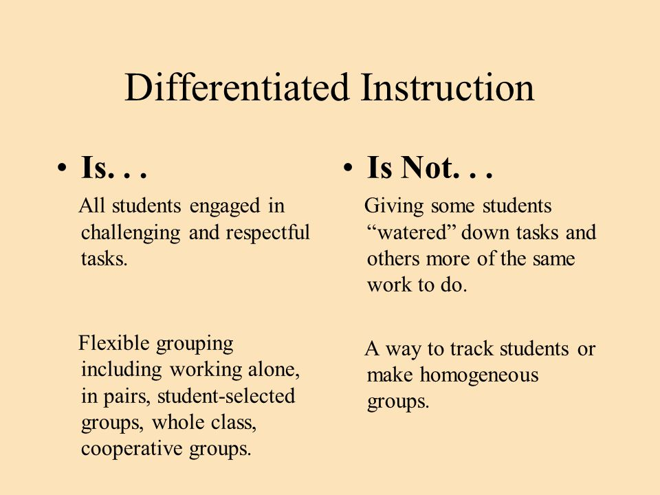 Differentiated Instruction Is... Learning organized around key concepts, themes, common elements.
