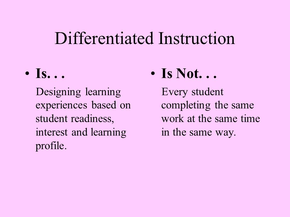 Differentiated Instruction Is... All students engaged in challenging and respectful tasks.