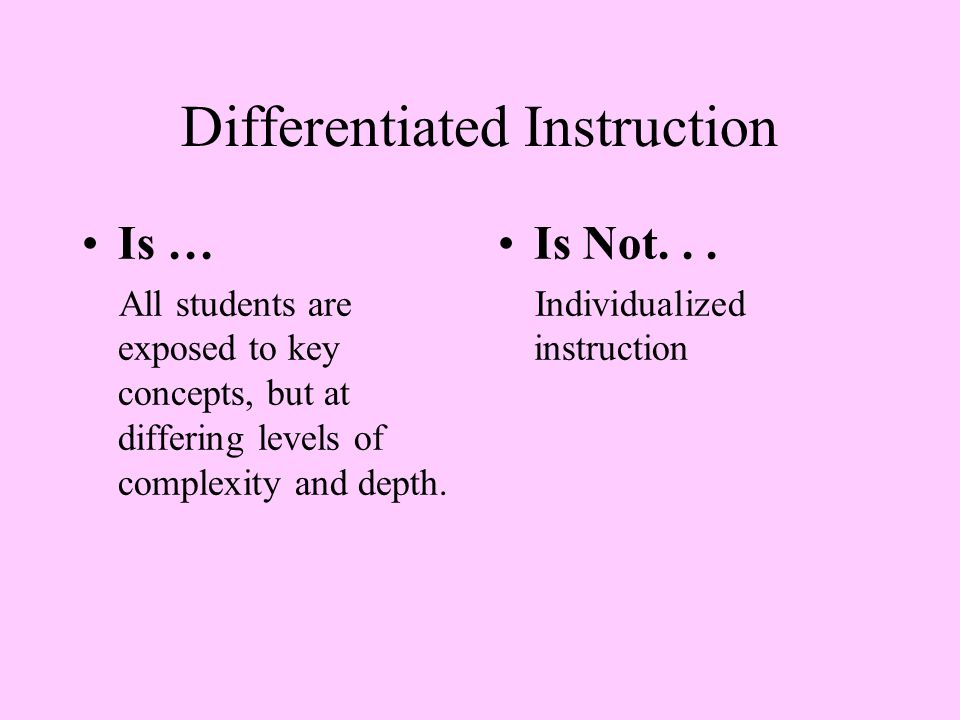Differentiated Instruction Is... A way of thinking about and organizing teaching and learning.