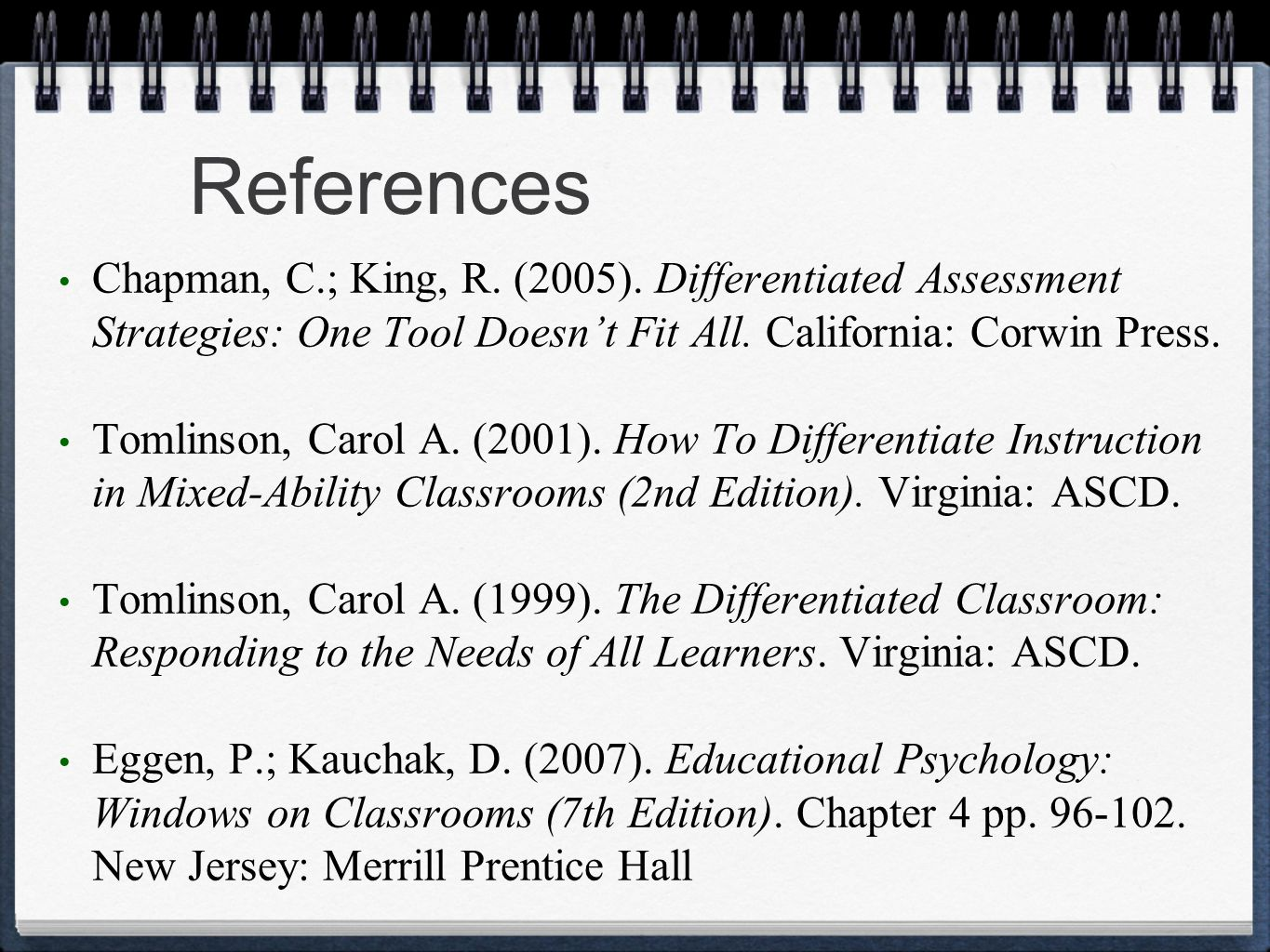 References Chapman, C.; King, R. (2005).
