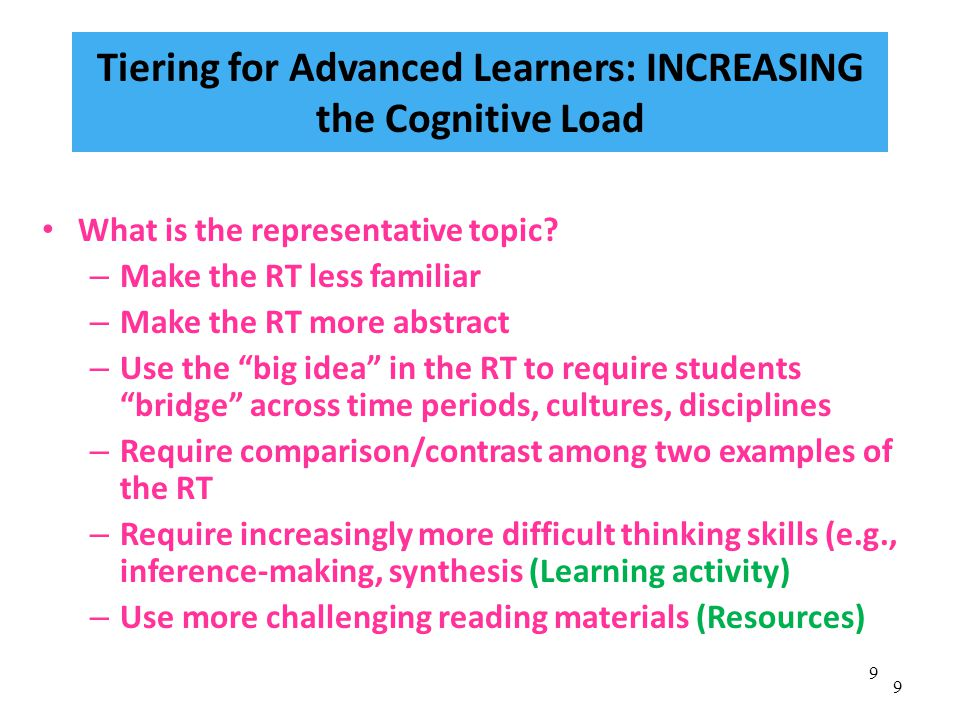 9 9 Tiering for Advanced Learners: INCREASING the Cognitive Load What is the representative topic.