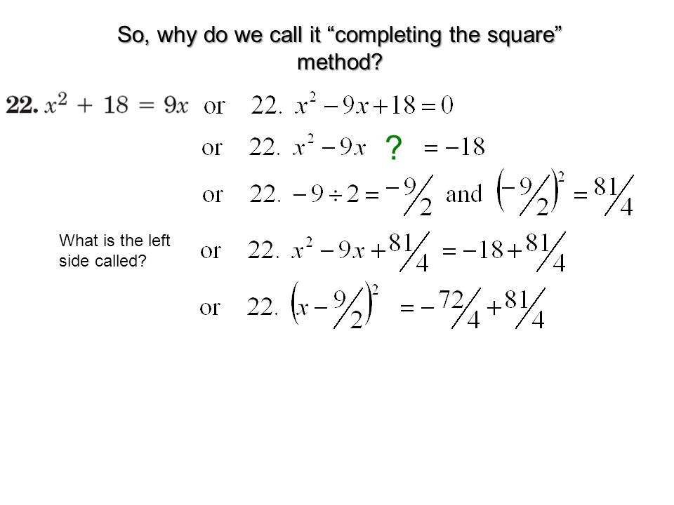 So, why do we call it completing the square method? ? What is the left side called?