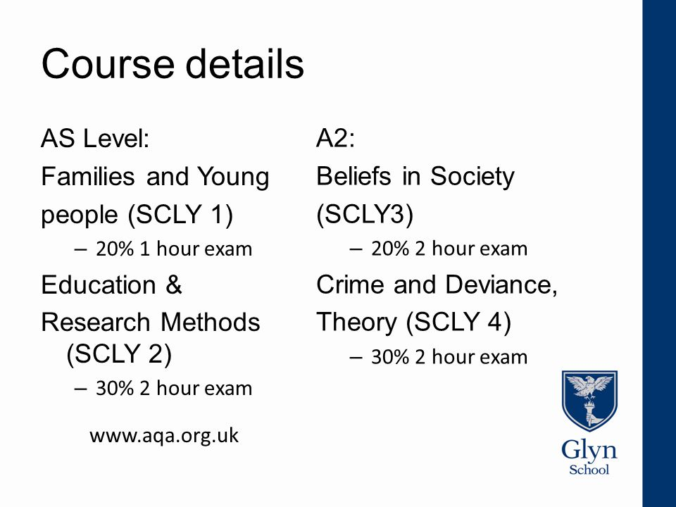 Course details AS Level: Families and Young people (SCLY 1) – 20% 1 hour exam Education & Research Methods (SCLY 2) – 30% 2 hour exam www.aqa.org.uk A2: Beliefs in Society (SCLY3) – 20% 2 hour exam Crime and Deviance, Theory (SCLY 4) – 30% 2 hour exam