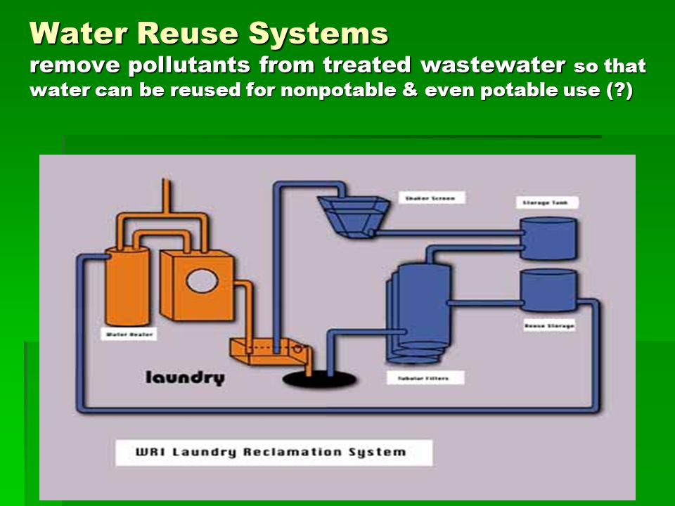 Water Reuse Systems remove pollutants from treated wastewater so that water can be reused for nonpotable & even potable use ( )