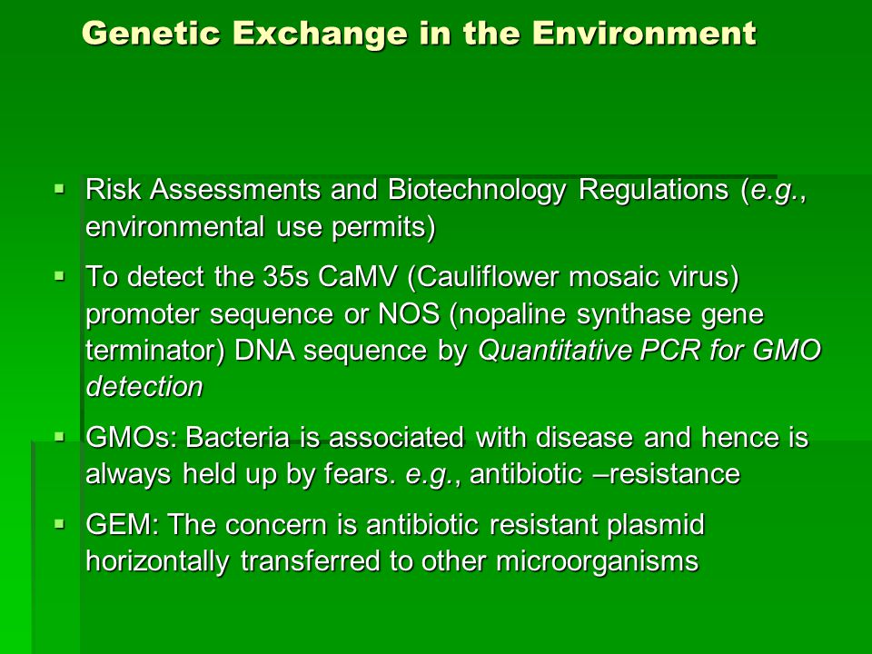 Genetic Exchange in the Environment  Risk Assessments and Biotechnology Regulations (e.g., environmental use permits)  To detect the 35s CaMV (Cauliflower mosaic virus) promoter sequence or NOS (nopaline synthase gene terminator) DNA sequence by Quantitative PCR for GMO detection  GMOs: Bacteria is associated with disease and hence is always held up by fears.