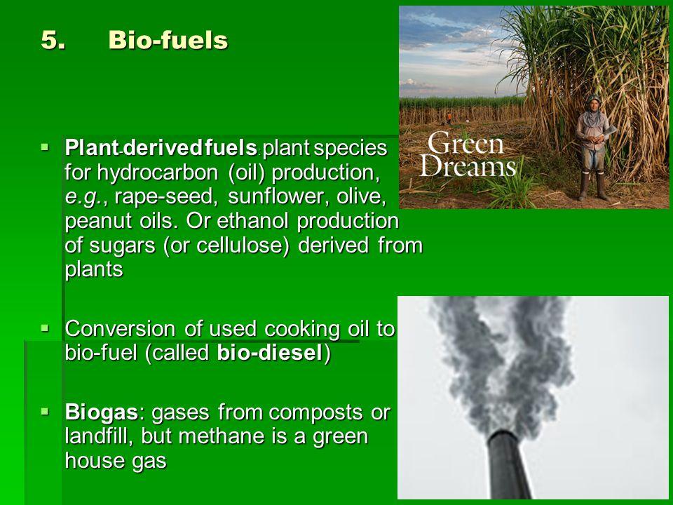 5. Bio-fuels  Plant - derived fuels : plant species for hydrocarbon (oil) production, e.g., rape-seed, sunflower, olive, peanut oils. Or ethanol prod