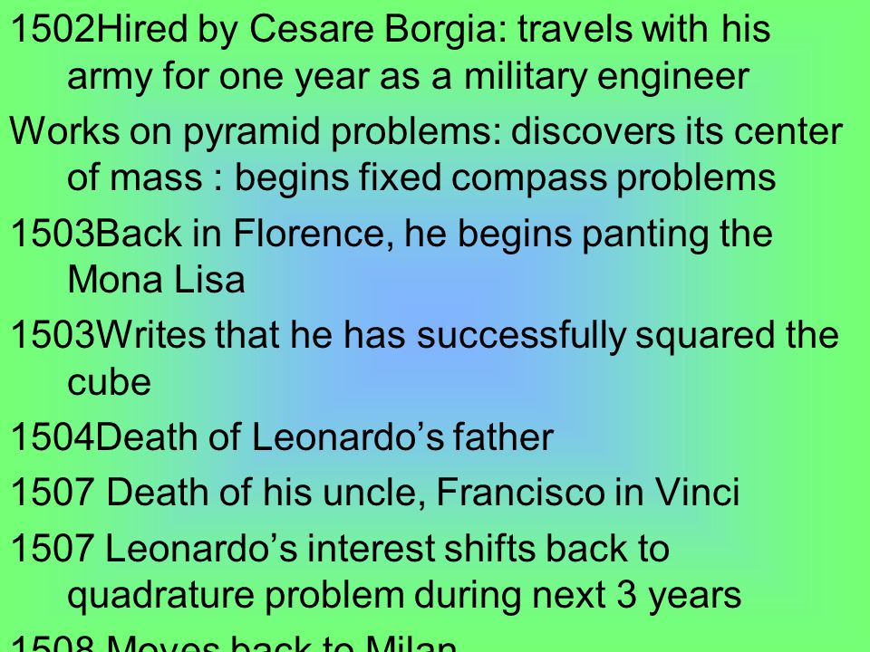 1502Hired by Cesare Borgia: travels with his army for one year as a military engineer Works on pyramid problems: discovers its center of mass : begins fixed compass problems 1503Back in Florence, he begins panting the Mona Lisa 1503Writes that he has successfully squared the cube 1504Death of Leonardo's father 1507 Death of his uncle, Francisco in Vinci 1507 Leonardo's interest shifts back to quadrature problem during next 3 years 1508 Moves back to Milan 1509Re-discovers the Lunes of Alazen
