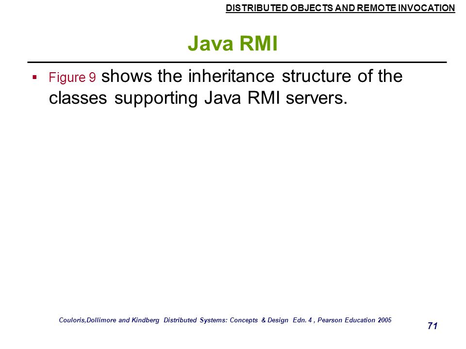 DISTRIBUTED OBJECTS AND REMOTE INVOCATION 71 Java RMI  Figure 9 shows the inheritance structure of the classes supporting Java RMI servers.
