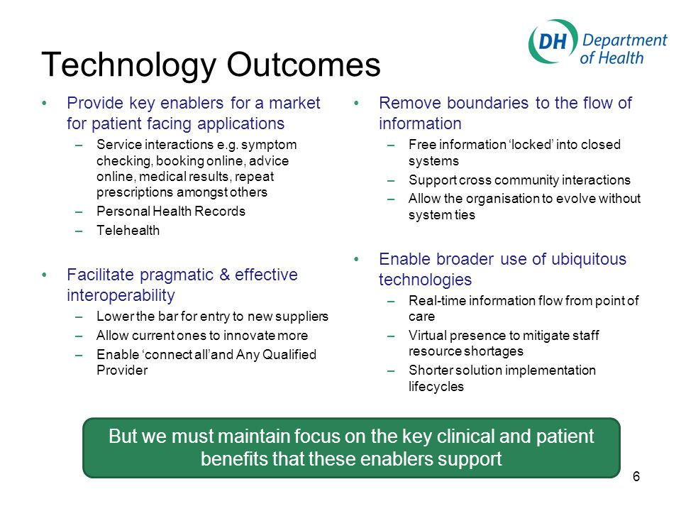 Technology Outcomes Provide key enablers for a market for patient facing applications –Service interactions e.g.