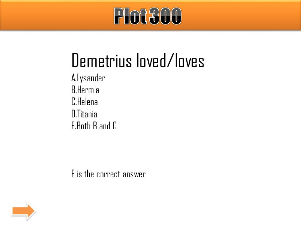 Demetrius loved/loves A.Lysander B.Hermia C.Helena D.Titania E.Both B and C E is the correct answer
