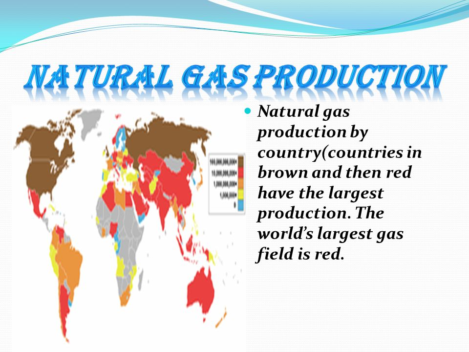 Natural gas production by country(countries in brown and then red have the largest production. The world's largest gas field is red.