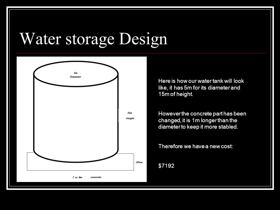 Water storage Design Here is how our water tank will look like, it has 5m for its diameter and 15m of height.