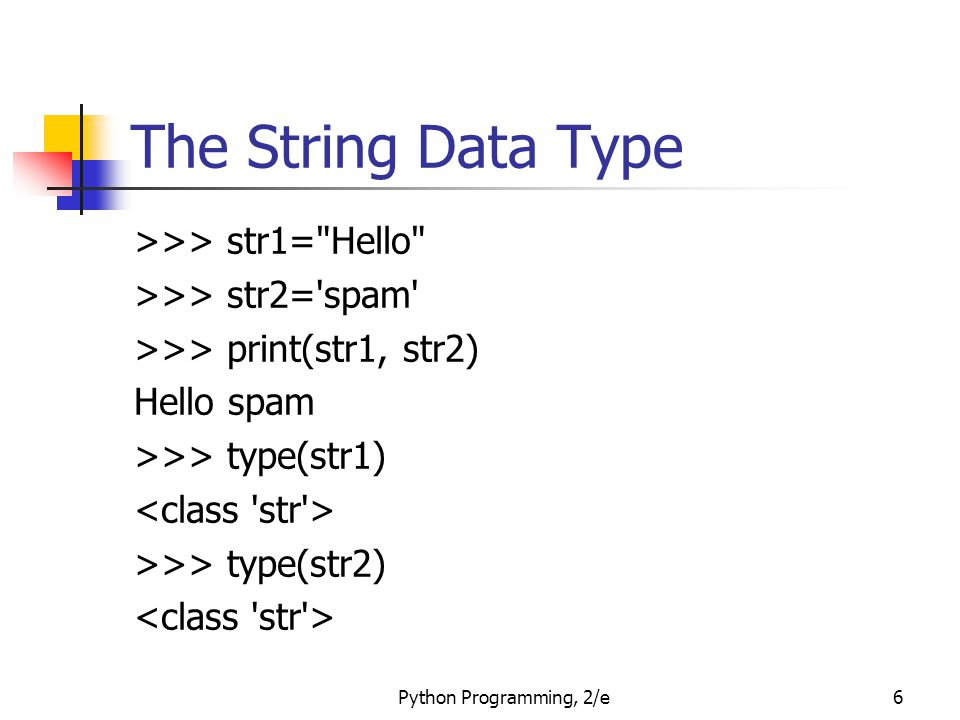 Python Programming, 2/e17 The String Data Type OperatorMeaning +Concatenation *Repetition []Indexing [:]Slicing len( )Length for in Iteration through characters