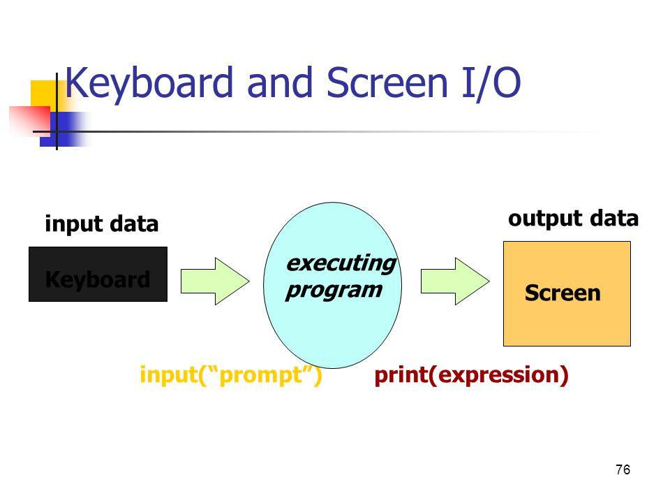 "Keyboard and Screen I/O input(""prompt"")print(expression) Keyboard Screen executing program input data output data 76"