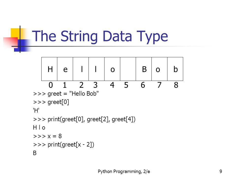 Python Programming, 2/e9 The String Data Type >>> greet =