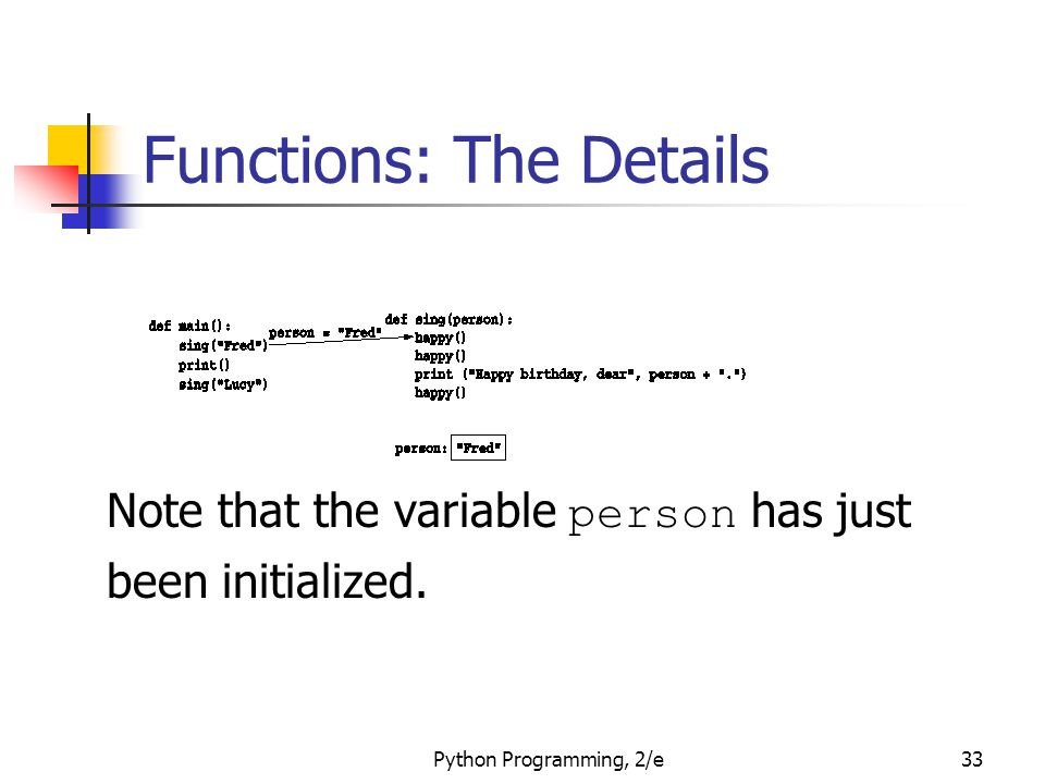 Python Programming, 2/e33 Functions: The Details Note that the variable person has just been initialized.